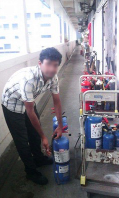 Uddin at one of his first jobs in Singapore