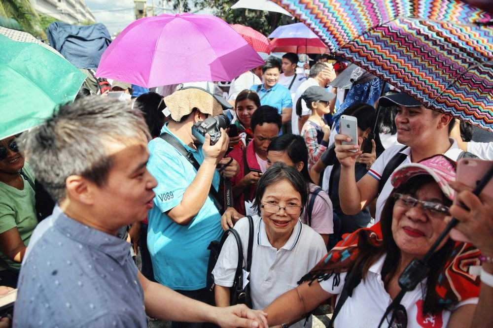 Senator Joel Villanueva attended the prayer rally outside the Senate of the Philippines to express their strong opposition to the SOGIE (Sexual Orientation and Gender Identity and Expression) Bill.