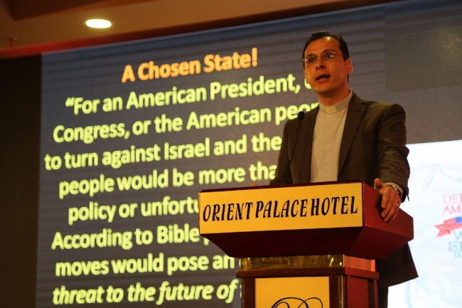 Dr. Munther Isaac speaks at a session during Christ at the Checkpoint 2016 (photo: Andrew E. Larsen)