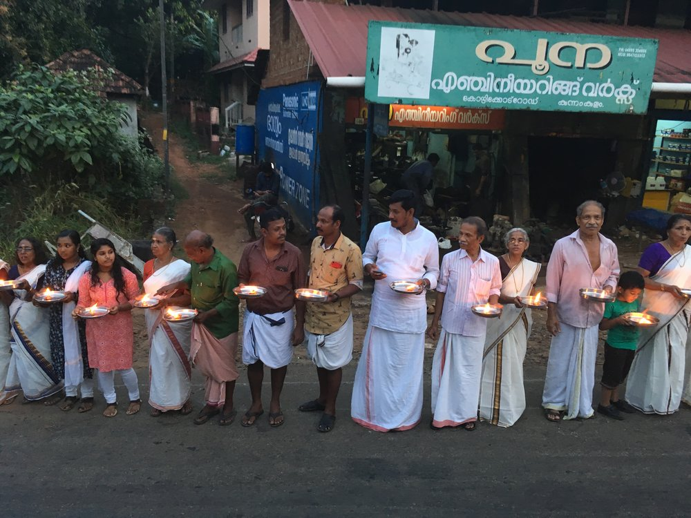 Devotees to Lord Ayyappa line up peacefully on Dec. 26 to protest a Supreme Court ruling that allows women's entry to the Sabarimala temple. Photo by Meagan Clark.