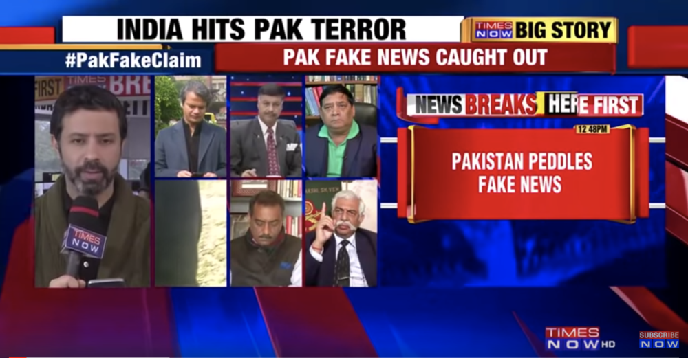 A screenshot from the Indian news channel  Times Now , exposing that Pakistani media had broadcast a 2016 photo to show a crashed Indian plane. Times Now and many other Indian outlets had broadcast similar fake news, of 2017 images appearing to show the Indian air force striking Pakistan on Feb. 26, 2019.