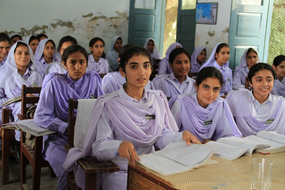 Girls study in a classroom in Khyber Pakhtunkhwa, Pakistan. Photo by Vicki Francis/UK Department for International Development.