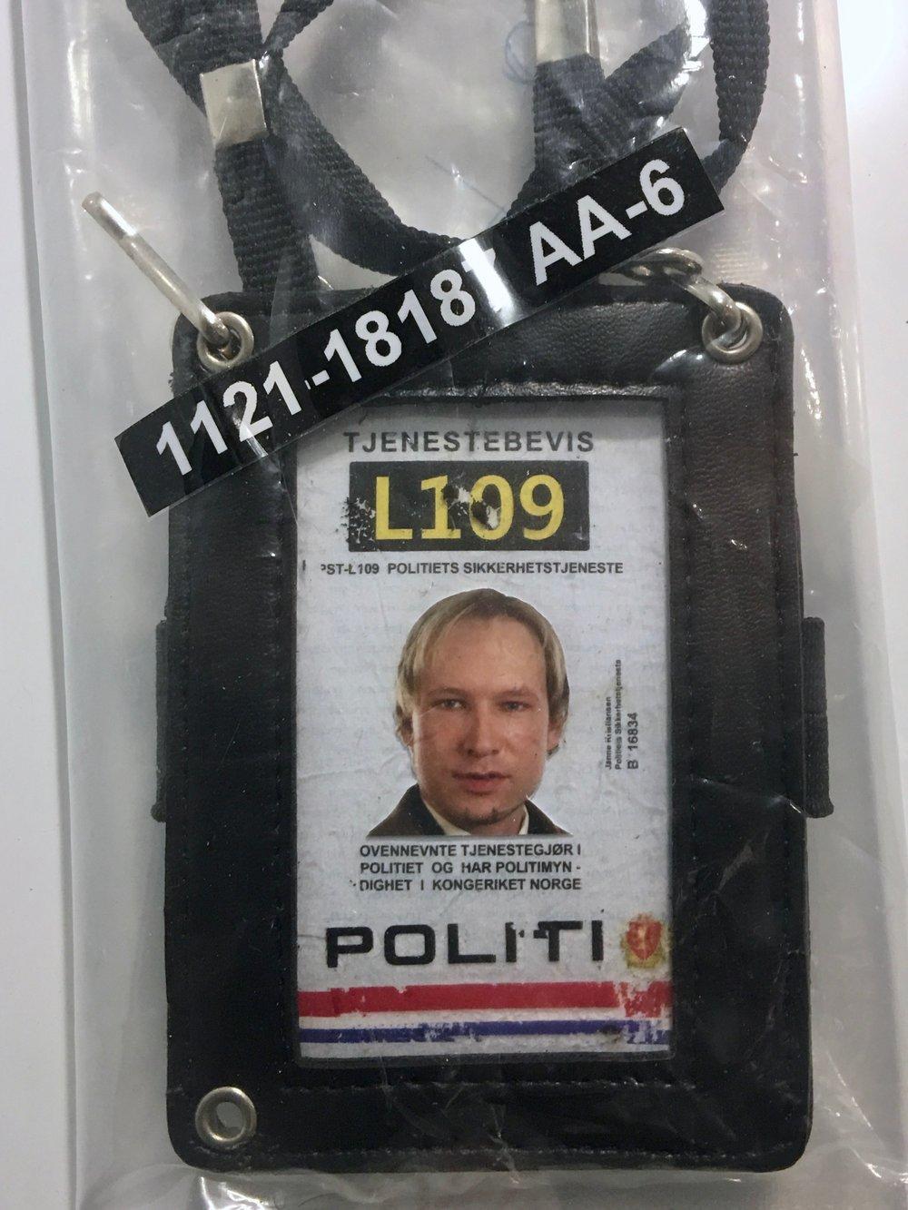 Terrorist Anders Behring Breivik's fake police ID