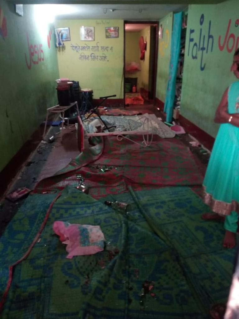 The aftermath of an attack on a house church and its congregation in Kolahpur, Maharashtra. Submitted photo.