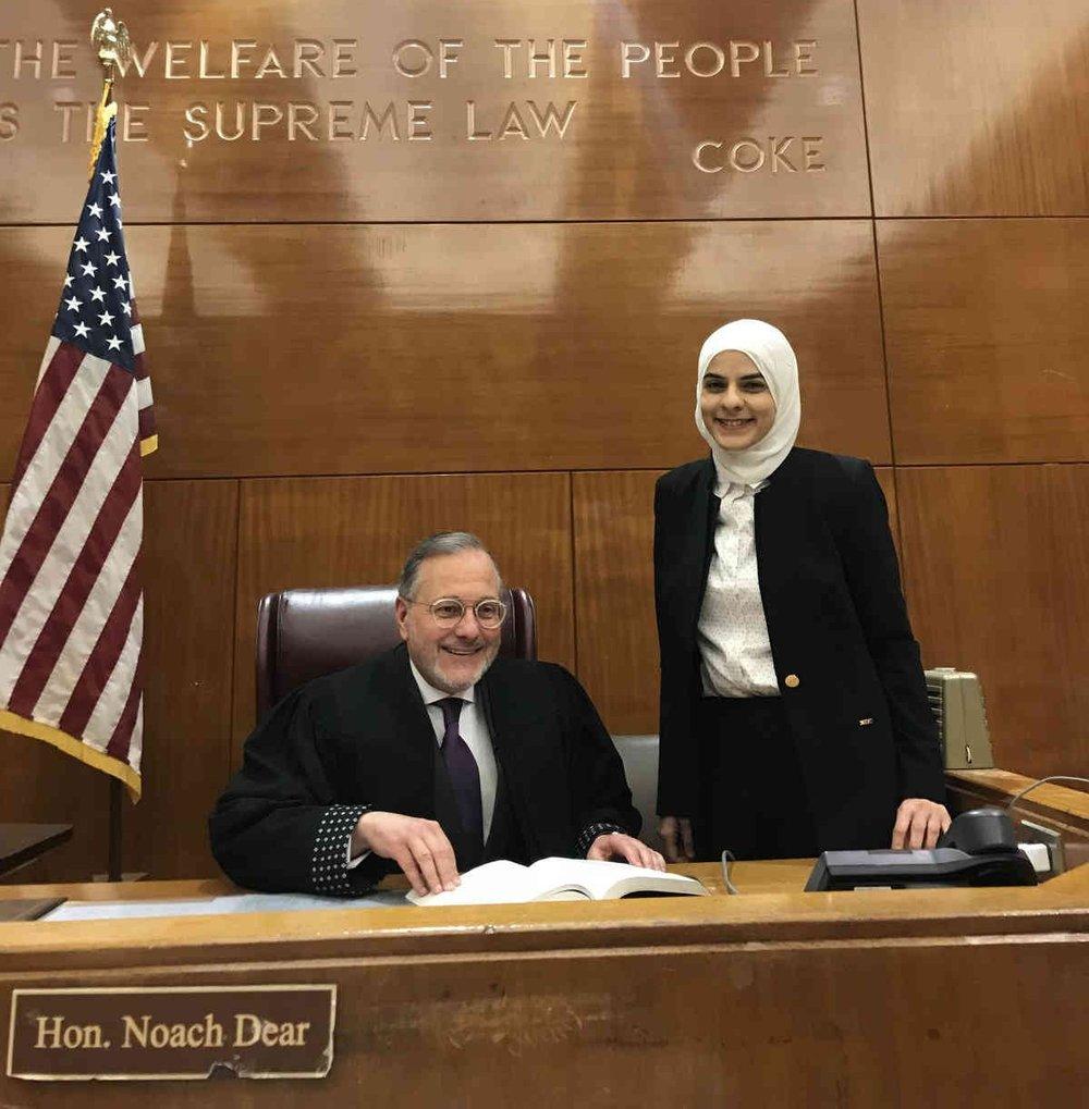 Judge Noach Dear and Deema Azizi in the courtroom. Photo by Maya Harrison.