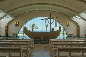 A chapel at Magdala with a boat-shaped altar.