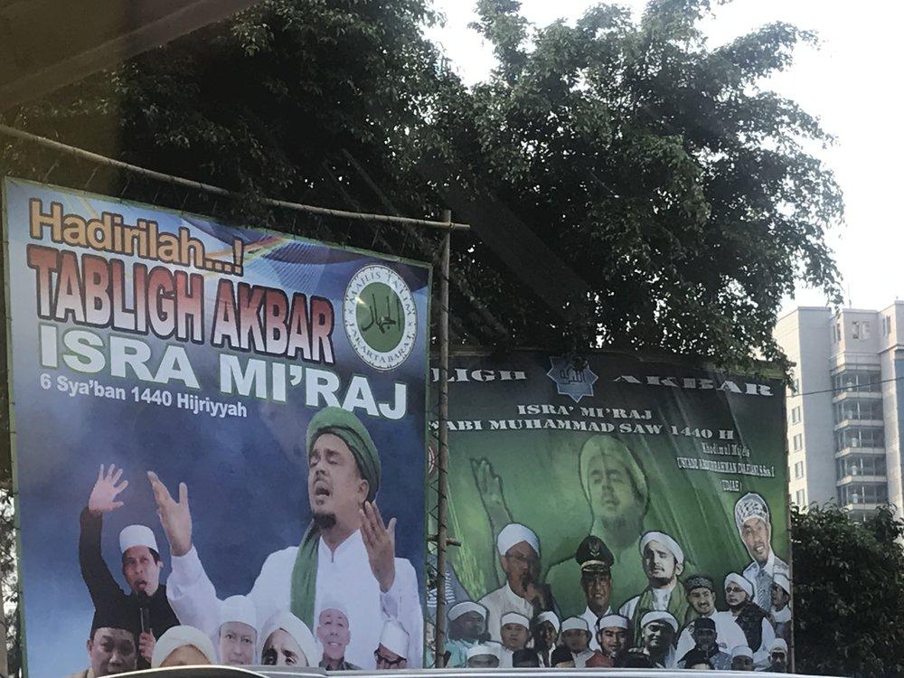 A poster of Tabligh Akbar praying for the Prabowo-Sandiaga Uno alliance. Photo by Sonia Sarkar.