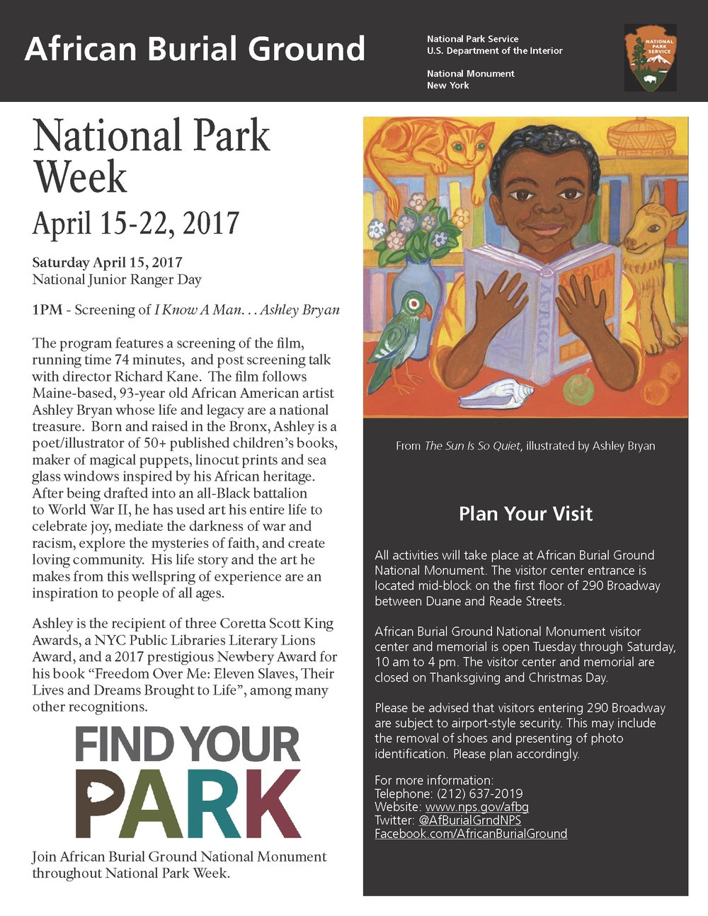 SCREENING AT THE AFRICAN BURIAL GROUND IN NYC ON THE OCCASION OF NATIONAL JUNIOR RANGER DAY