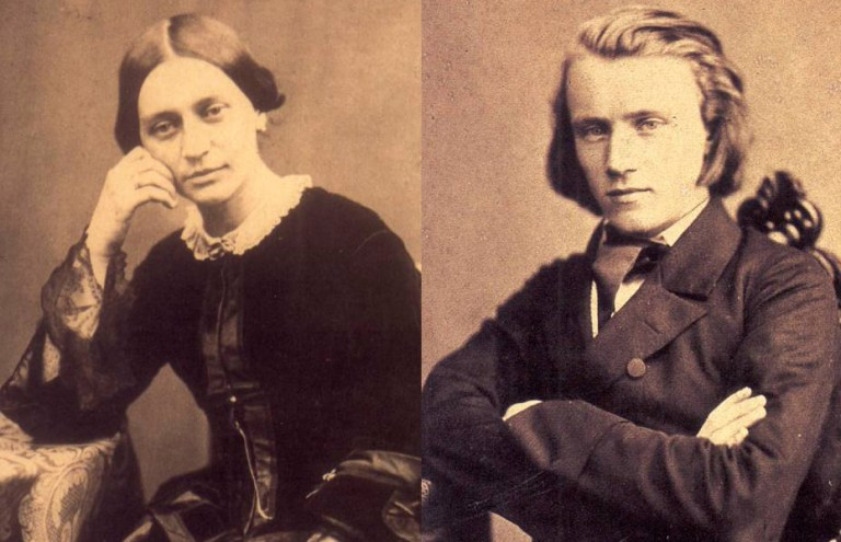 Clara Schumann and a young Johannes Brahms.