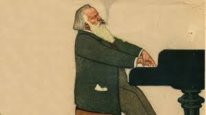 Old Brahms at the piano.