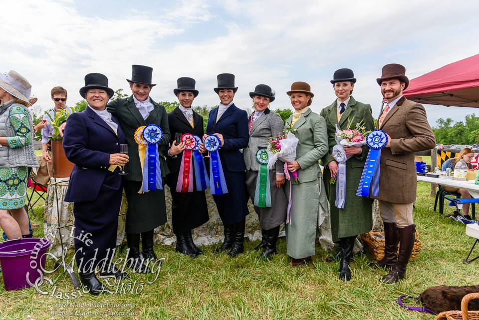 Congratulations to all of the riders! L to R: Sarah O'Halloran, Sarah Hansard, Bernadette Boland, Devon Zebrovious, Dillyn Ketterman-Millnick, Kathryn Cowles, Aurora Munyan, Andrew Camp. (c) Photo by Middleburg Photo