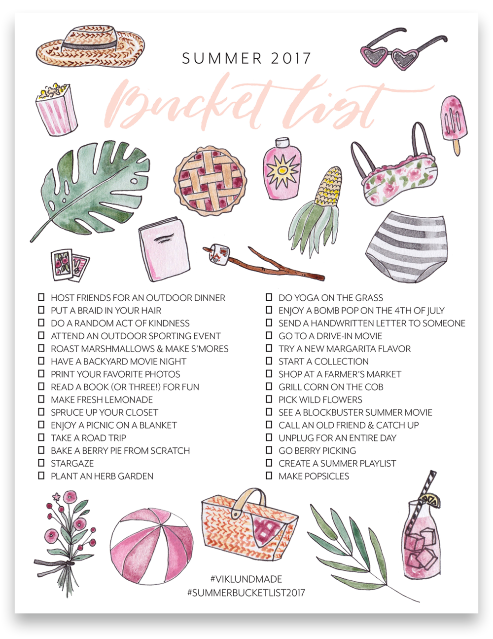 Summer Bucket List 2017 Viklund Made Brittany Viklund Watercolor Artist Portrait Painter Brand Photographer Interior Styling Motherhood Blog Oklahoma City Custom Wedding Gift Illustration