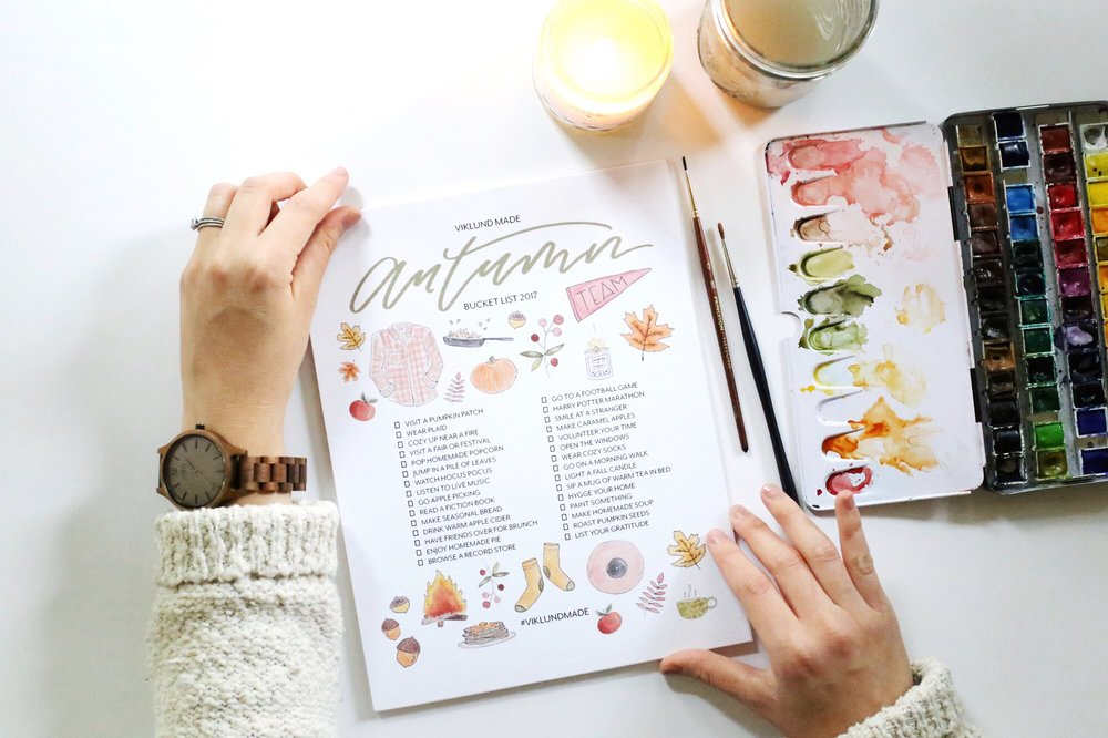 VIKLUND MADE AUTUMN BUCKET LIST 2017 Viklund Made Brittany Viklund Watercolor Artist Portrait Painter Brand Photographer Interior Styling Motherhood Blog Oklahoma City Custom Wedding Gift Illustration