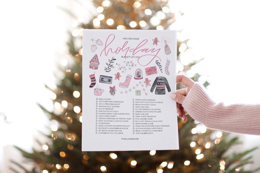 FREE DOWNLOAD Viklund Made Holiday Bucket List 2017 | Viklund Made Brittany Viklund Watercolor Artist Portrait Painter Brand Photographer Interior Styling Motherhood Blog Oklahoma City Custom Wedding Gift Illustration