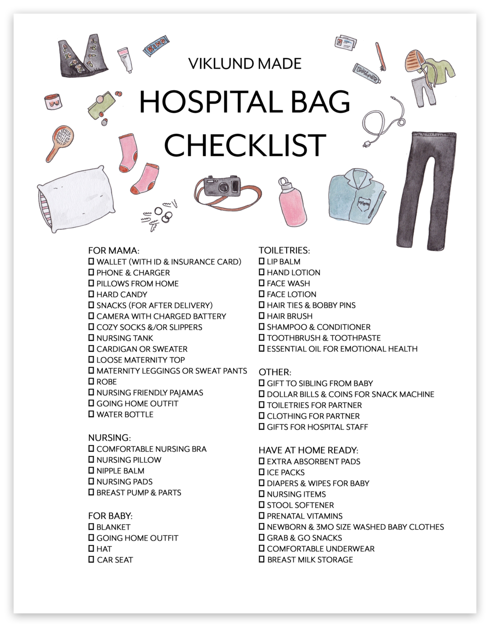 WHAT'S IN MY HOSPITAL BAG & HOSITAL TIPS | Viklund Made Brittany Viklund Watercolor Artist Portrait Painter Brand Photographer Interior Styling Motherhood Blog Oklahoma City Custom Wedding Gift Illustration