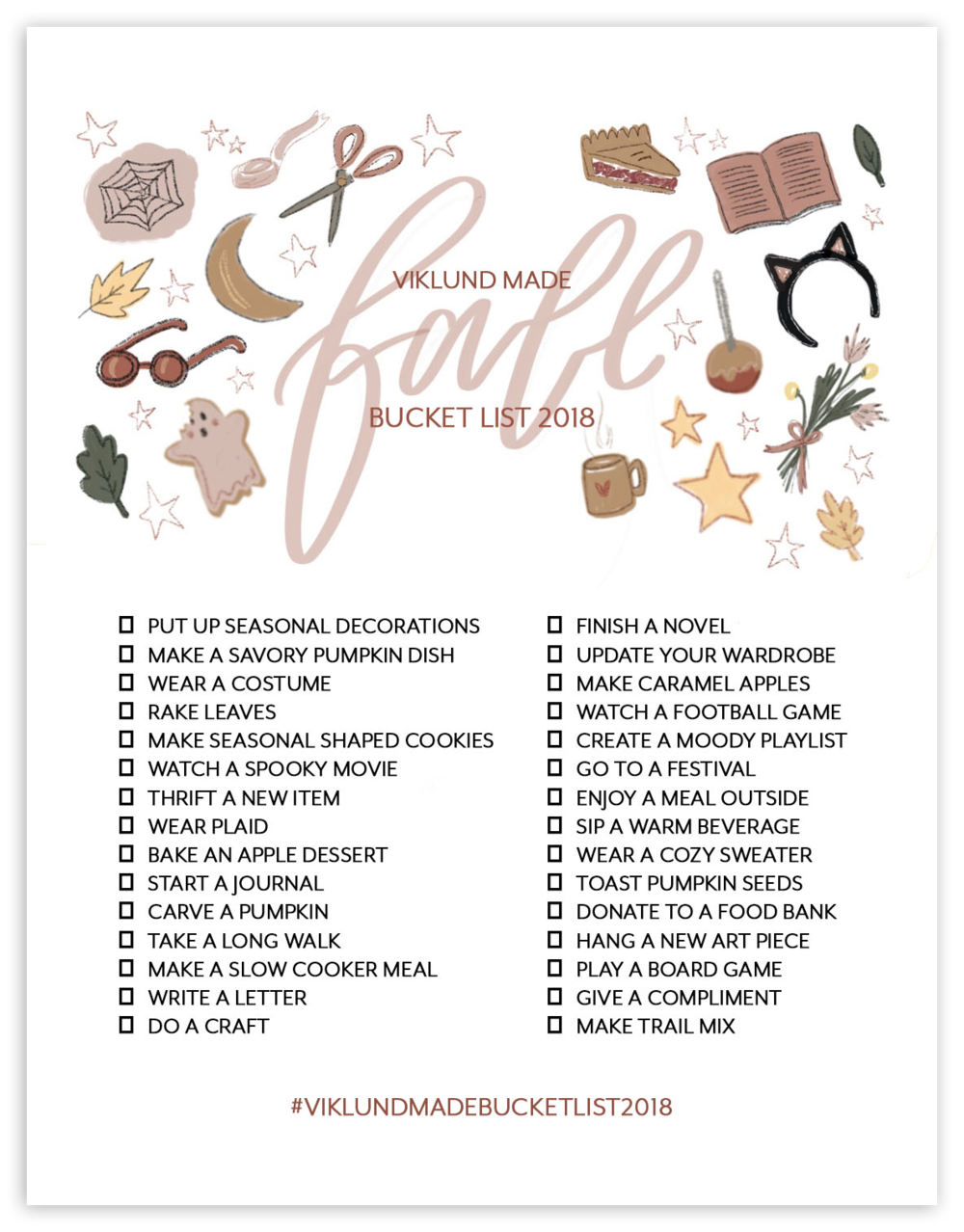 VIKLUND MADE FALL BUCKET LIST 2018  |  Viklund Made Brittany Viklund Watercolor Artist Portrait Painter Brand Photographer Interior Styling Motherhood Blog Oklahoma City Custom Wedding Gift Illustration