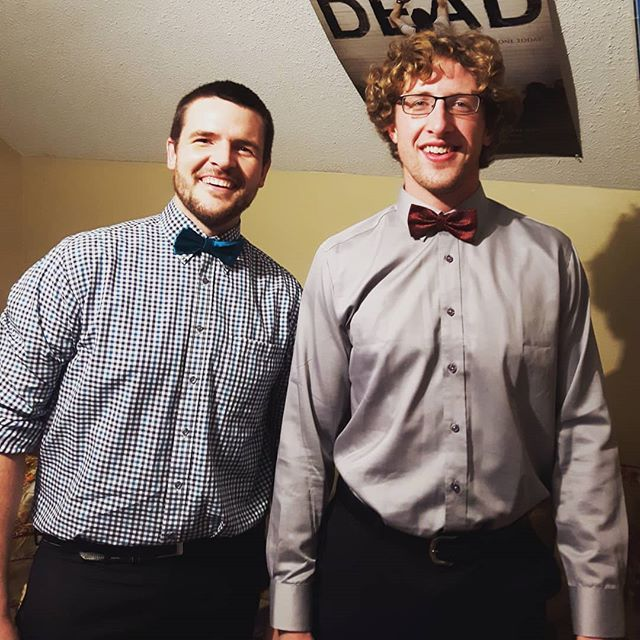 The brothers both sporting the bowties tonight in Rapid View! #bchb #brothers