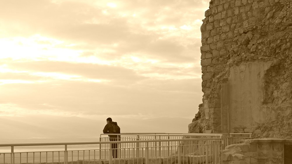 My Husband Overlooking the Dead Sea
