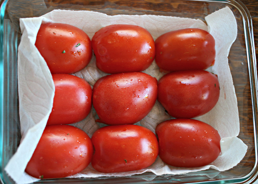Halved tomatoes