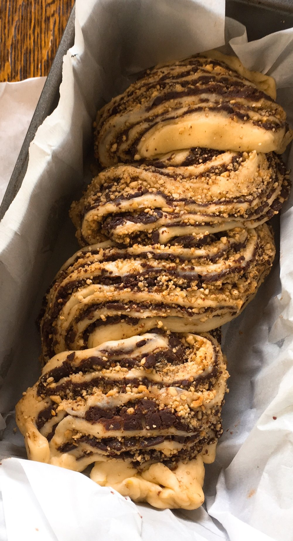 "Chocolate dough ""braided"""