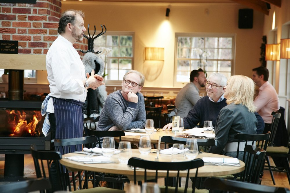 Food for thought: Chef Patron Chris Galvin chats to diners at the Galvin Green Main in Howe Street near Chelmsford in Essex.