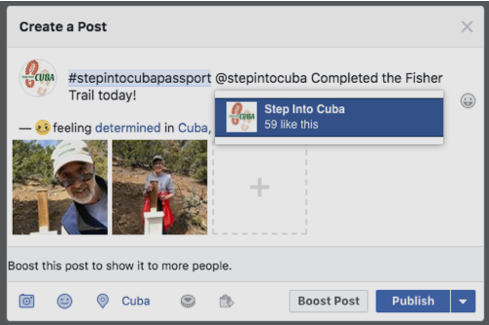Example desktop Facebook post.