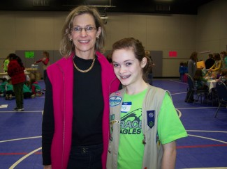 Hailey and her mom, Marianne, at the cookie rally