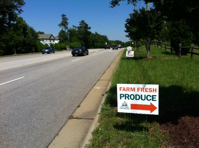 farm stand road signs on tryon