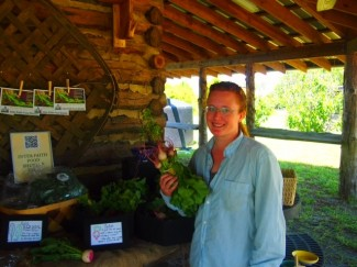 Kristina at the farm stand