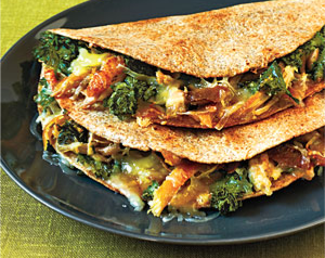 Chicken & Mustard Greens Quesadillas