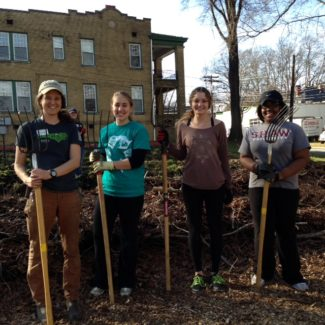 Jauntavia Prather during her service trip to IFFS Geer Street Learning Garden