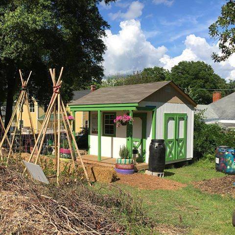 The garden classroom at the Geer Street Learning Garden is getting fresh paint & it'd really coming together! .jpg