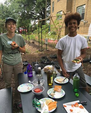 End of week grilled cheeses in the garden! Using the carrot top greens from our carrot harvest we made a great pesto recipe with fresh t.jpg