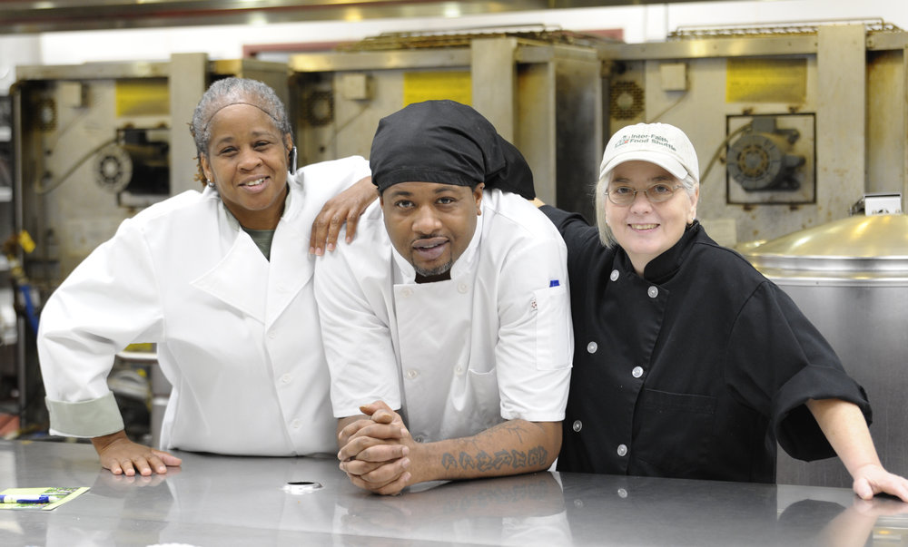 Kitty, Shaun and Chef Terri together in the Food Shuttle kitchen
