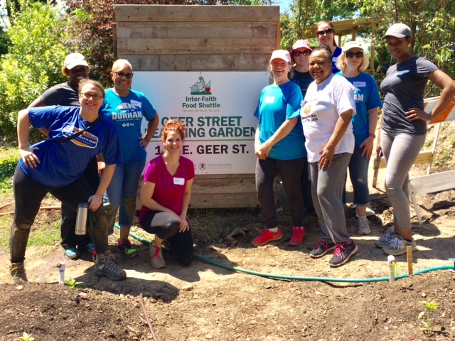 A group from Blue Cross Blue Shield NC volunteers at the Geer Street Learning Garden