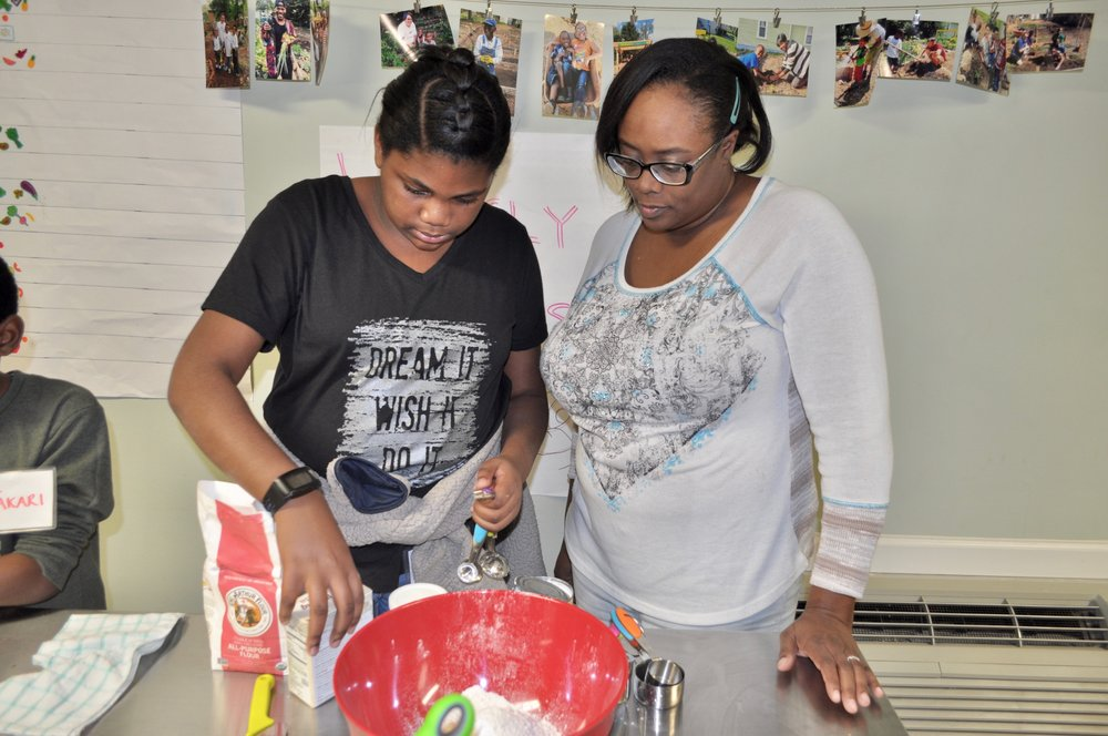 Rainey and Johnetta West cooking together during a Sprout Scouts class