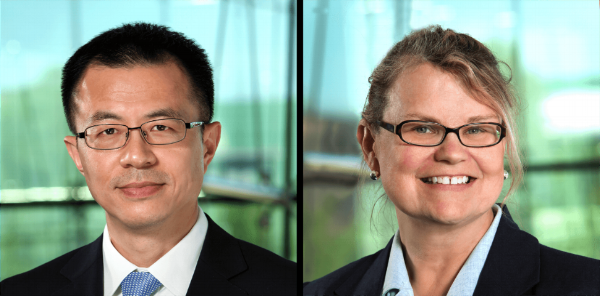 Director of Target Discovery Wei Yang, PhD (left) and Director of Philanthropy Sharon Klein (right).