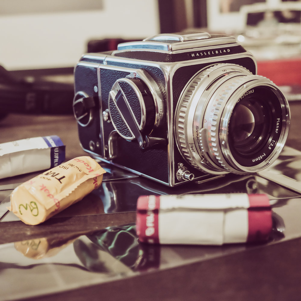 1979 Hasselblad 500cm with a few of my favorite rolls of 120 Film.