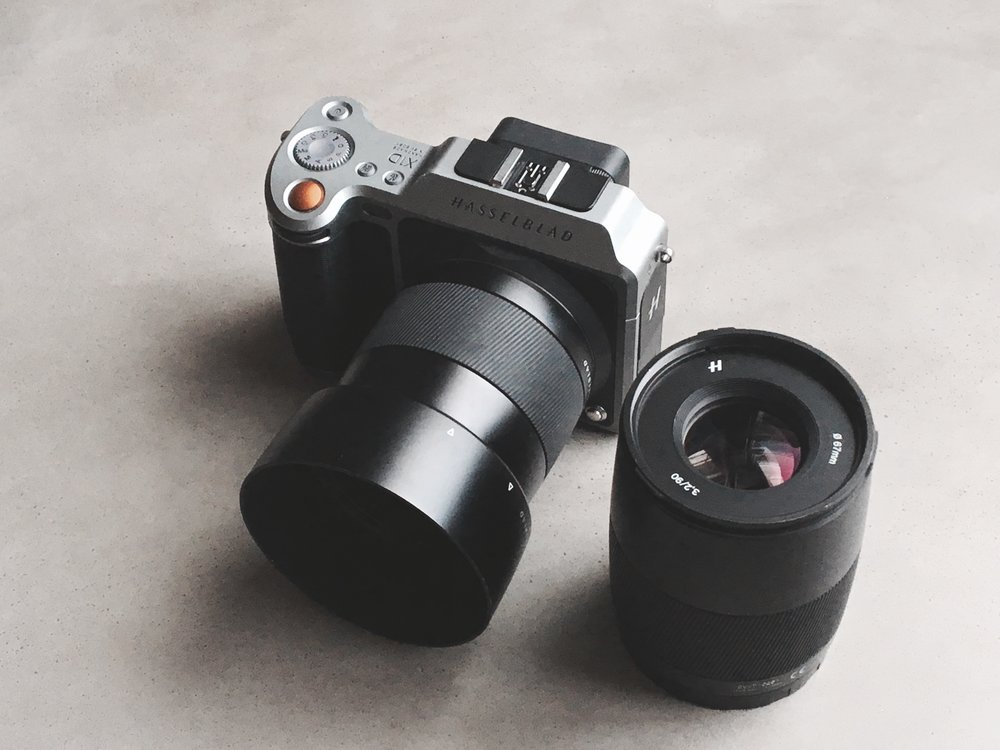 Hasselblad X1D with 90mm and 45mm lenses.