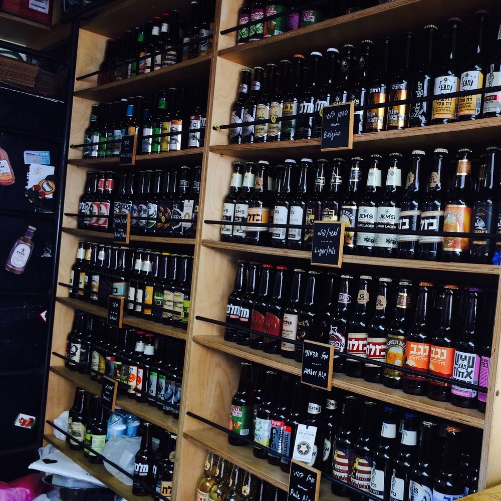 Even in tiny Israel you can find a treasure trove of flavorful, masterfully crafted beers. This is a kiosk in the Tel Aviv Carmel market: carrying only local Israeli micro-brews.