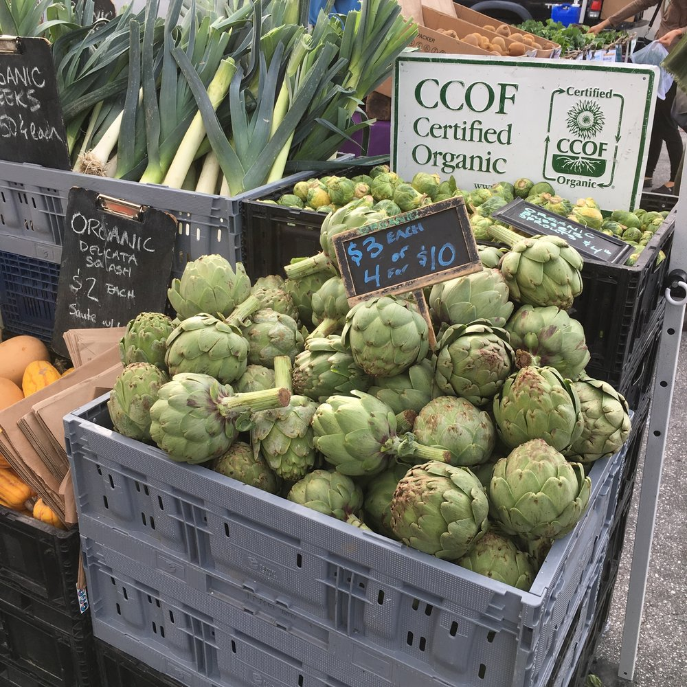 Beautiful, crisp organic and LOCAL artichokes at the Santa Cruz Farmers' Market