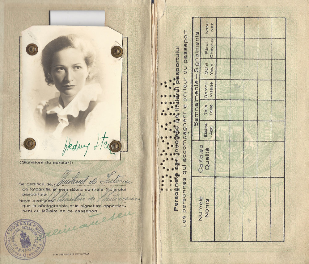 Hedda Sterne's 1941 Romanian Passport from the Archives of The Hedda Sterne Foundation, New York