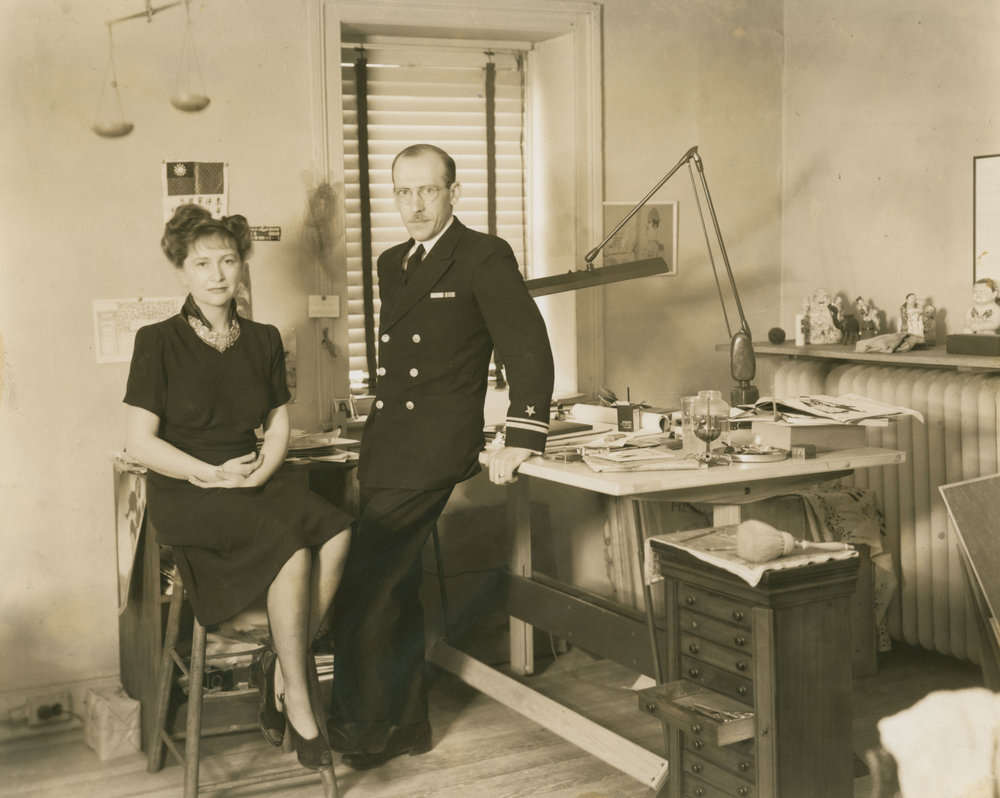 Hedda Sterne and Saul Steinberg in their home studio, c. 1945