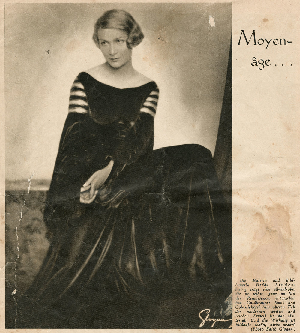 Hedda Sterne modeling a dress of her own design, published in the Viennese magazine  Die Bühne  in October 1932  |  from the  Archives of The Hedda Sterne Foundation, New York