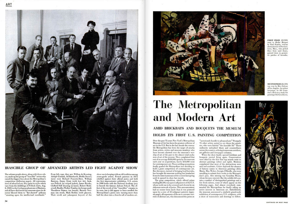 """Irascible Group of Advanced Artists Led Fight against Show"" in the January 15, 1951 issue of LIFE magazine"