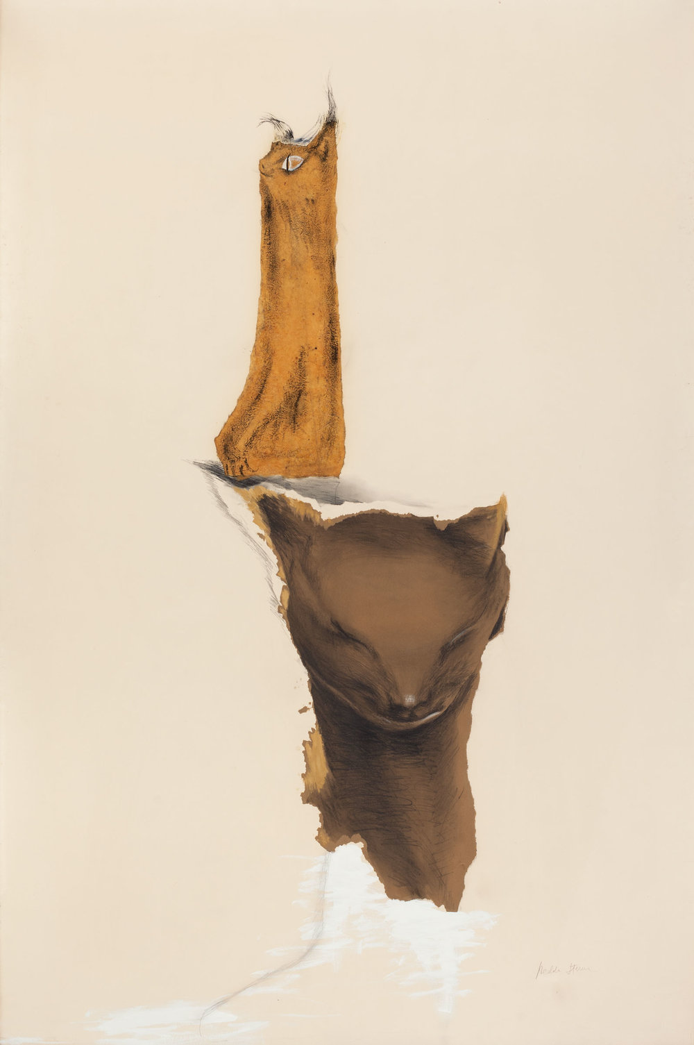Hedda Sterne,  Katsonarock (Portrait of V.X.) , 1941, Pencil and gouache on Japanese paper mounted on paper, 60 x 40 in.
