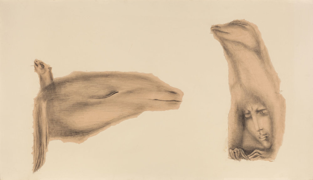 Hedda Sterne,  Untitled , 1940, Pencil and Japanese paper mounted on paper, 29 3/4 x 51 1/2 in.