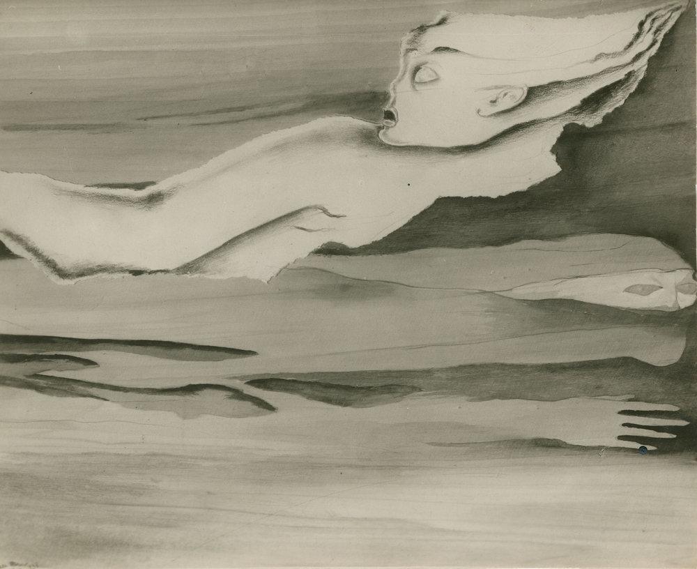 """Archival photograph of collage by Hedda Sterne from the """"Papiers Arrachés et Interprétés"""" series, c. 1938"""