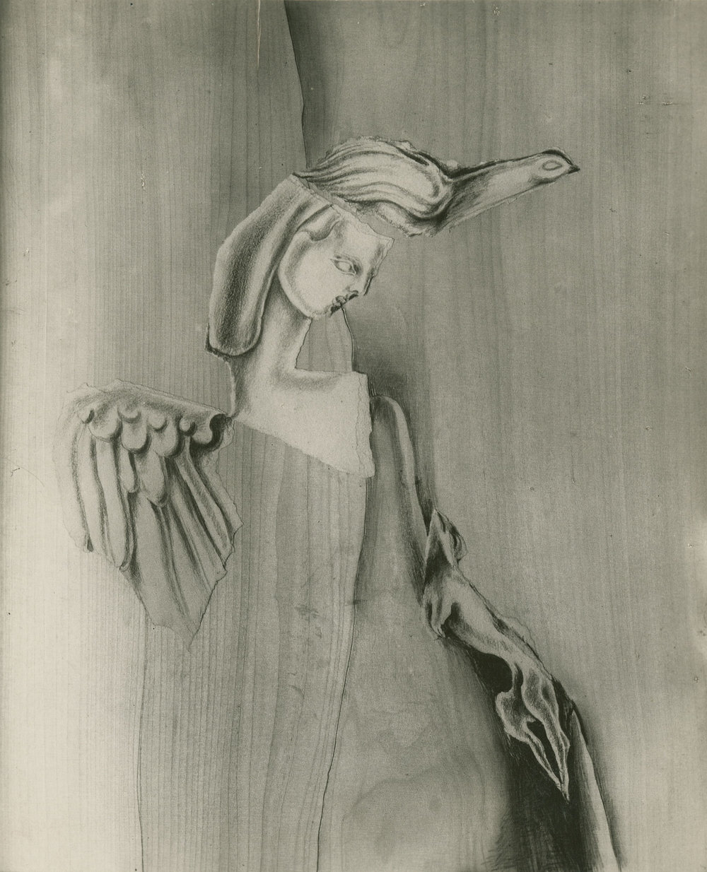 "Archival photograph of collage by Hedda Sterne from the ""Papiers Arrachés et Interprétés"" series, c. 1938"