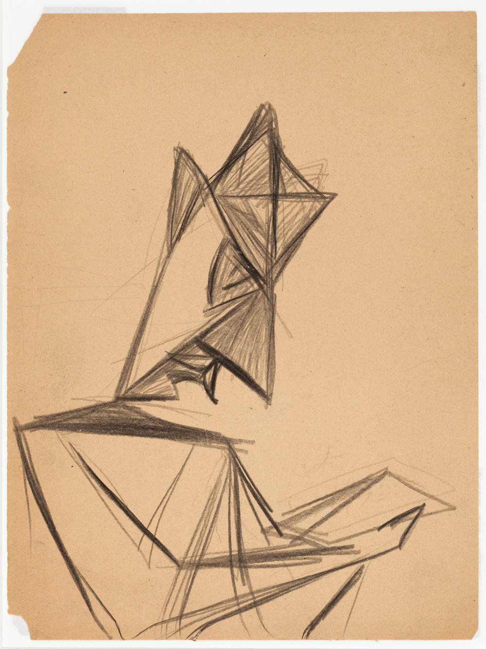 Hedda Sterne, Portrait of Saul [Steinberg], 1943, Graphite on paper, 12 in. x 8 3/4 in. (30.48 cm x 22.23 cm)